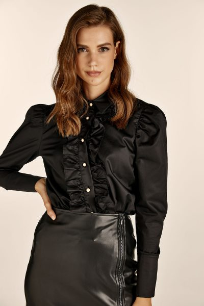 Ruffled Black Shirt