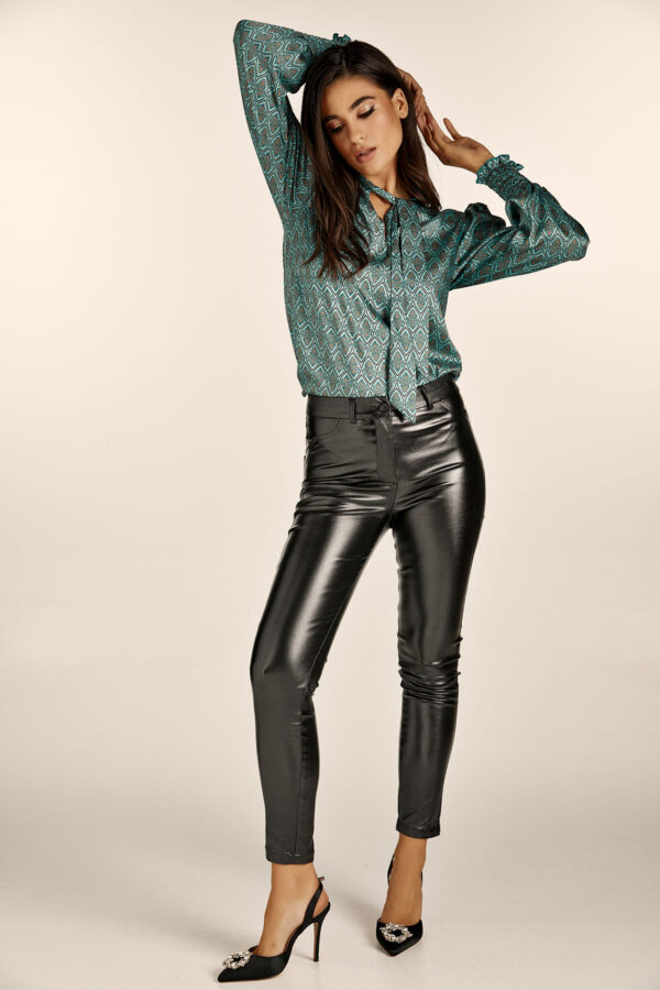 Glitter Leather Slim Fit Pants