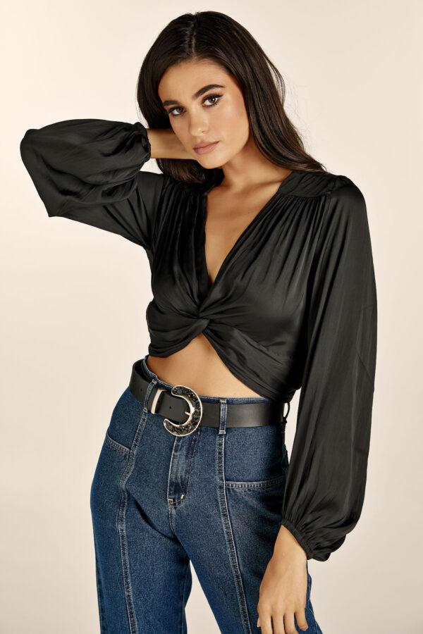 Silky Crop Top – Black