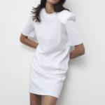 Padded Shoulders Mini Dress -White