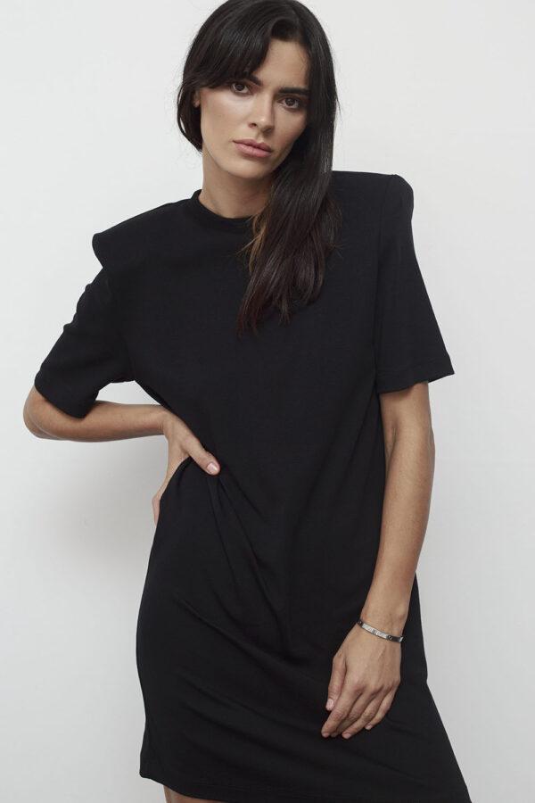 Padded Shoulders Mini Dress – Black