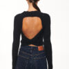 Open Back Knit Top – Black