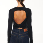Open Back Knit Top – Black