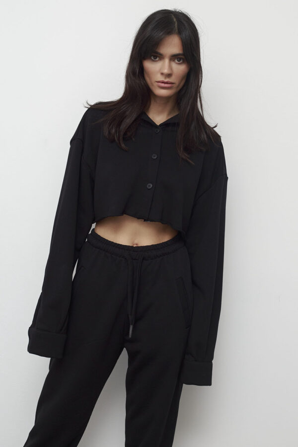 Cropped Sweat Shirt – Black
