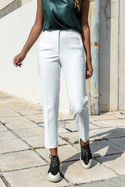 White Highwaist Cigar Pants