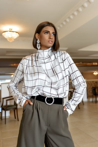 Ophelia Silky Blouse – Checkered