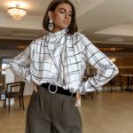 Ophelia Silky Blouse – Checkered