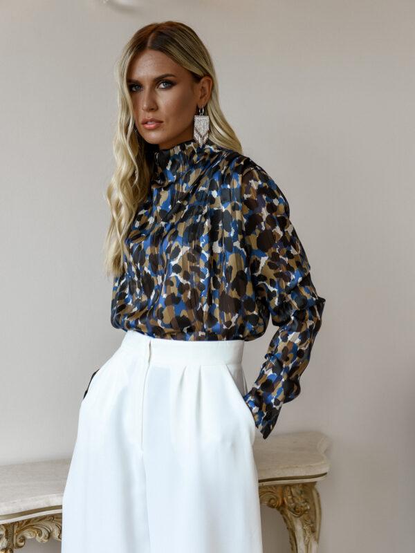 Ophelia Silky Blouse – Leopard