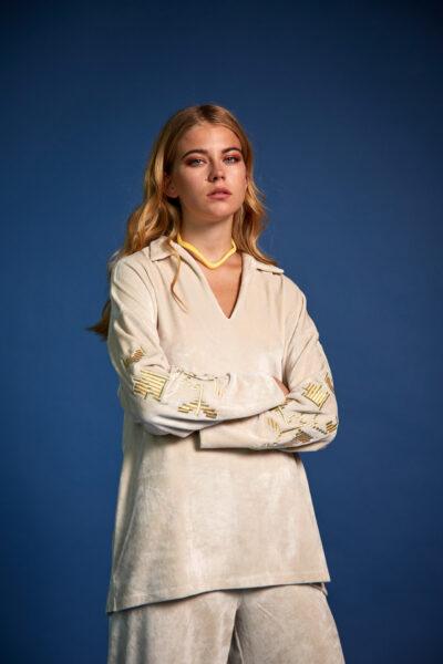 Velvet Embroidery Loungewear – Vanilla