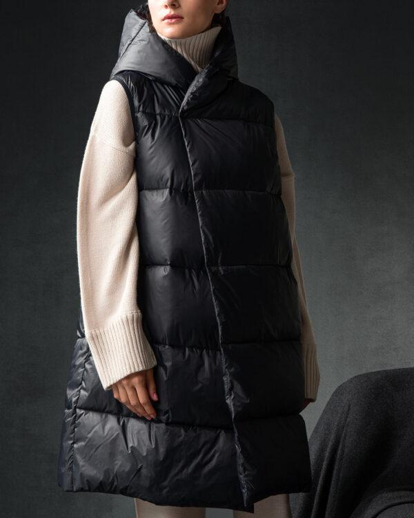 Black Sleevless Puffer Jacket