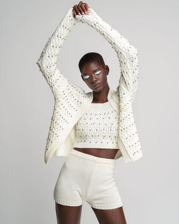2 Piece Pearl Knit – White
