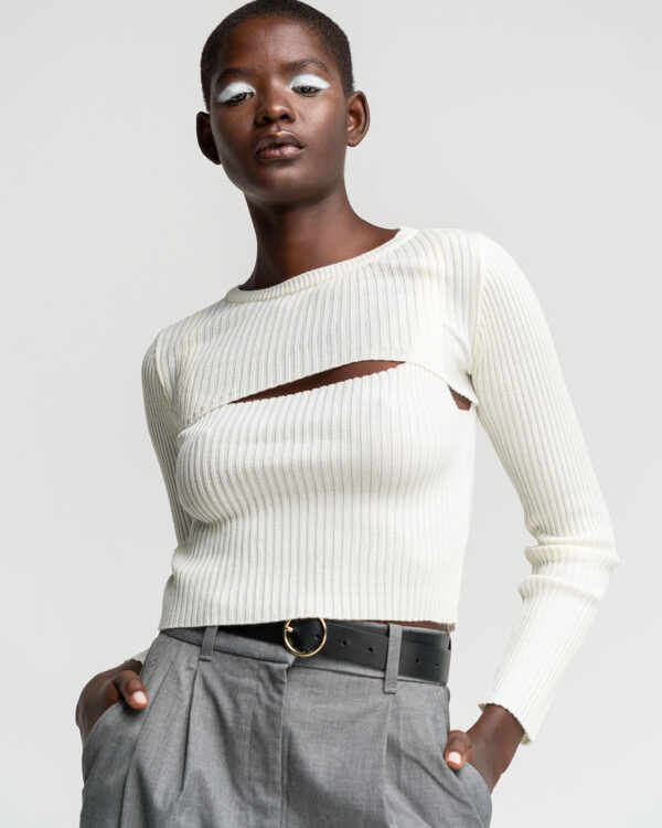 2 Pieces White Knit Top