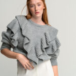 Ruffled College Sweater – Grey