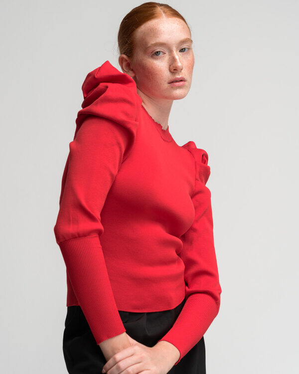 Padded Shoulders Light Knit – Red