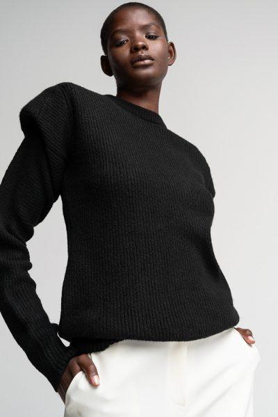 Black Padded Sweater