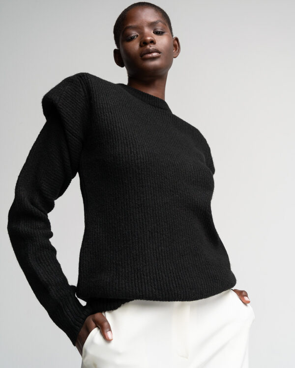 Black Padded Sweater