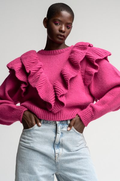 Ruffled College Sweater – Magenta
