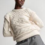 Braided Oversized Cream Sweater