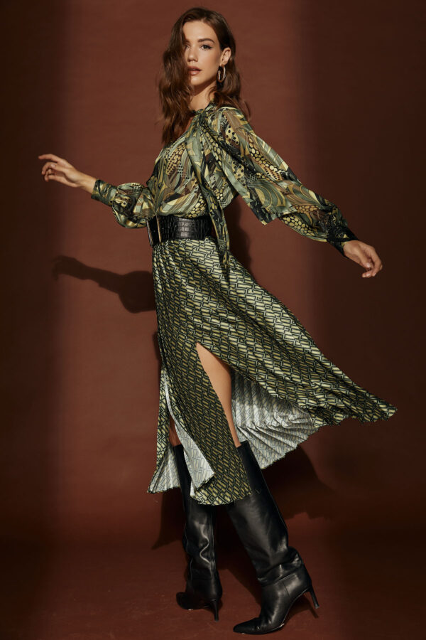 Celia Pleated Midi Skirt