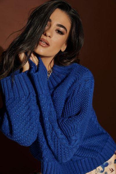 Blue Braided Sweater