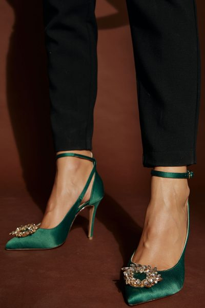 Jeweled Pumps – Green