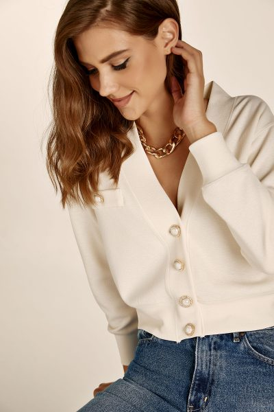 Cream Jeweled Top