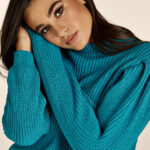 Turquoise Volume Sleeves Knit