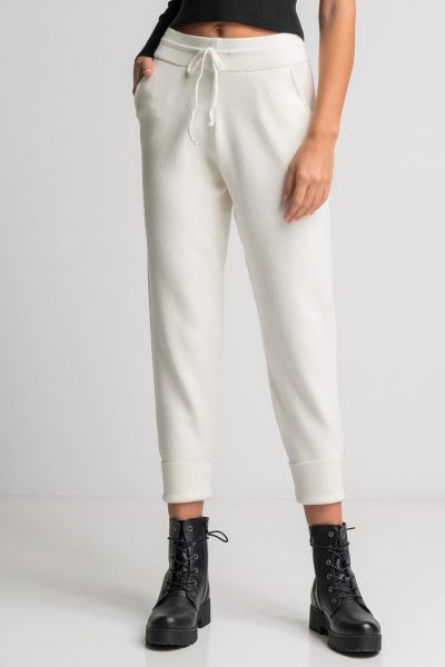Soft Knit Jogger Pants – White
