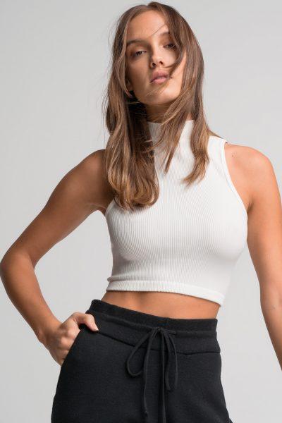 Halter Rib Crop Top – White