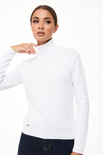 Turtleneck Knit Top – White