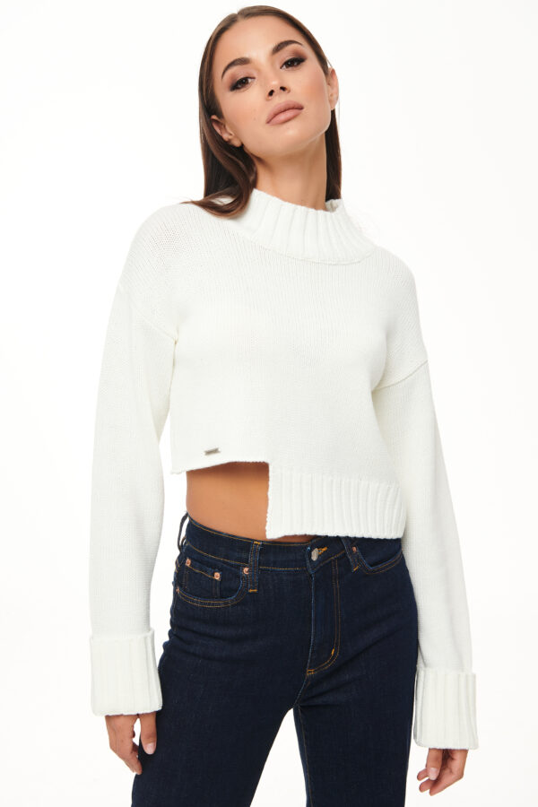 Cropped Knit – White – Black