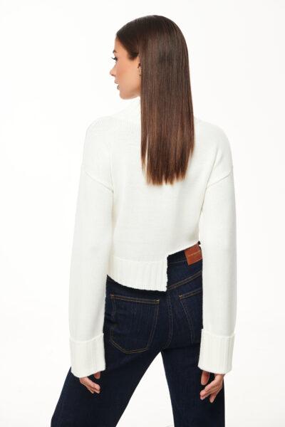 Cropped Knit – White – Black
