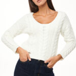 Braided Cropped Knit – White – Light Grey