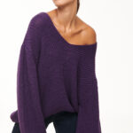 Loose V neck Sweater – Purple – White – Black