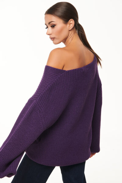 Loose V neck Sweater – Purple – White – Black