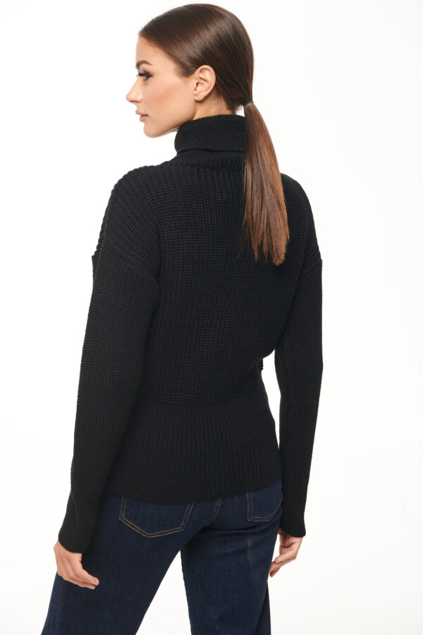 Turtleneck Sweater – Black – White