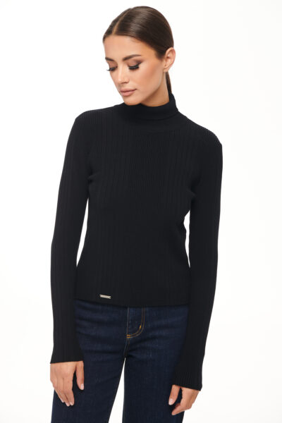 Turtleneck Knit Top – Black