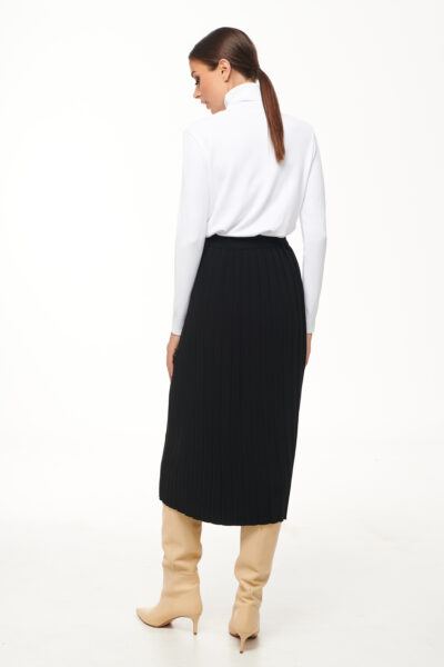 Pleated Knit Skirt – White – Black