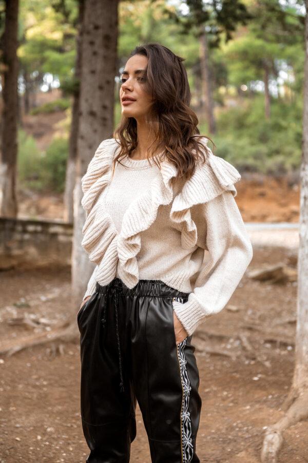 Margarita Leather Jogger Pants – Black