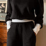 LAURA black balloon sleeves sweatshirt