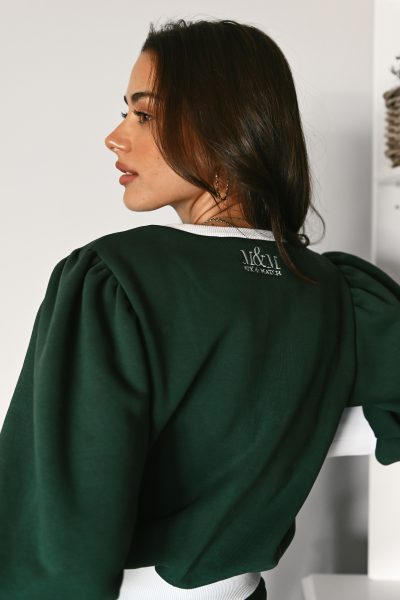 LAURA green balloon sleeves sweatshirt