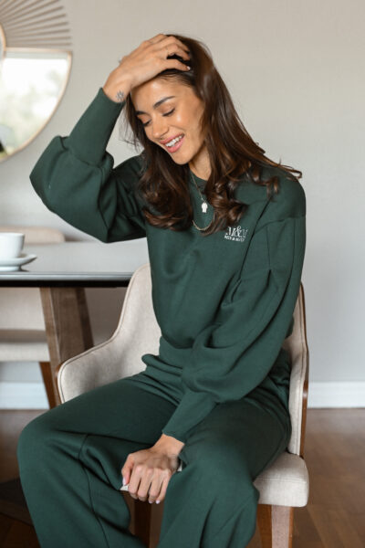 BRENDA green pleated sleeves oversized sweatshirt