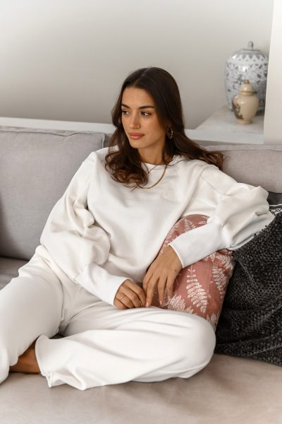 BRENDA white pleated oversized sleeves sweatshirt