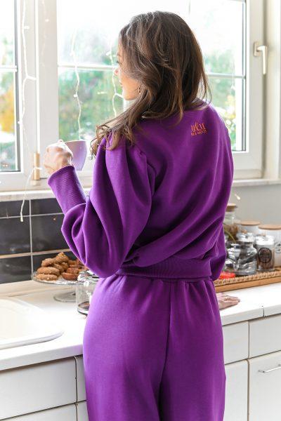 LAURA purple balloon sleeves sweatshirt