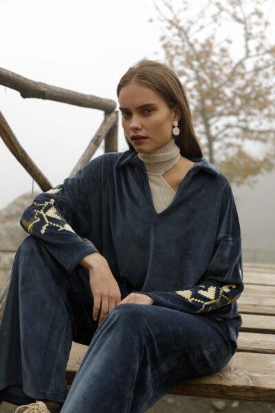 Velvet Embroidery Loungewear – Blue