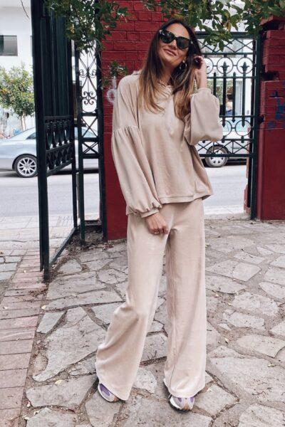Hooded Velvet Loungewear – Vanilla