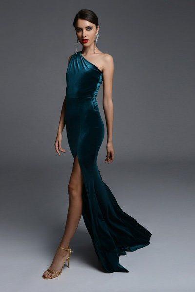 Soiree Green Velvet Dress