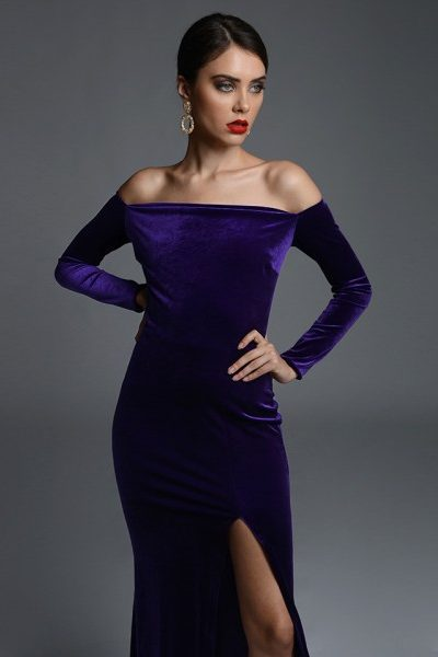 Ivvy Purple Velvet Dress