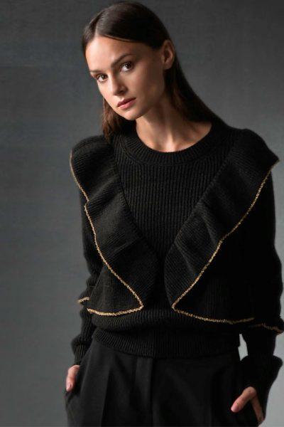 Chunky Ruffles Knit – Black