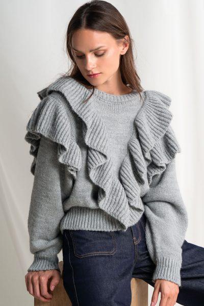 Ruffled College Sweater – Grey